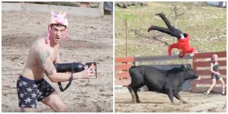 """TwinzTV stehen für """"craziest pranks"""": Hier versuchen sie sich beim Bullenreiten"""