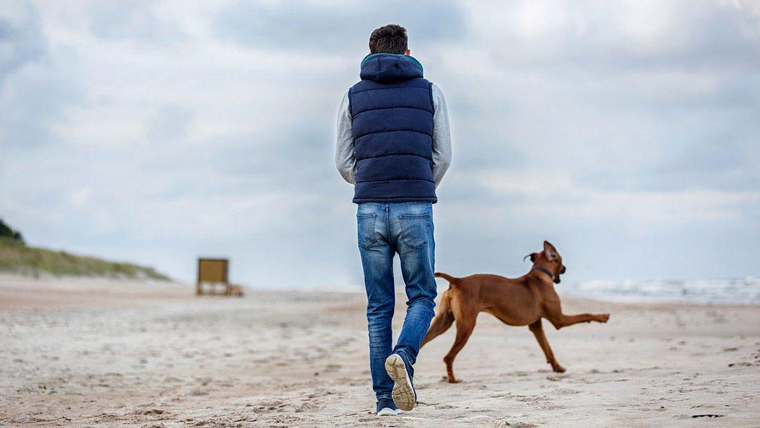 Mann genießt den Strand mit seinem Hund