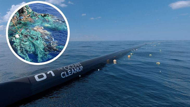 Mit diesem gigantischen Schlauch soll das Meer gereinigt werden