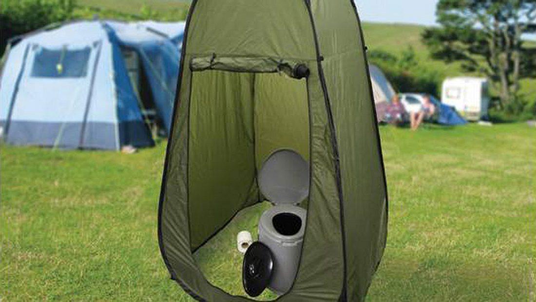 Tragbare Toilette mit Zelt