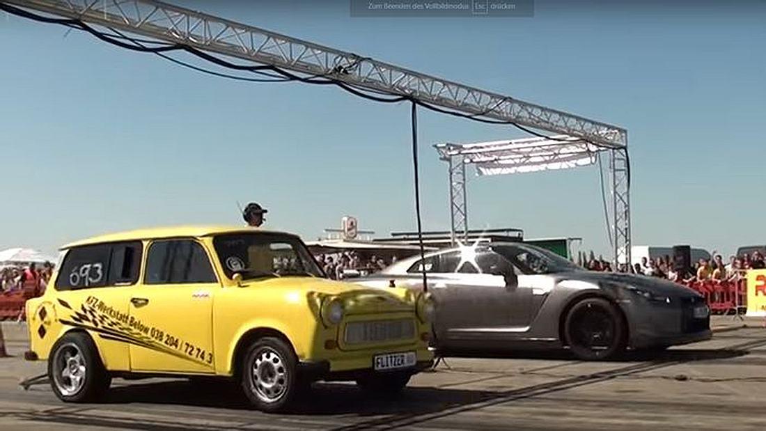 Drag Race: Ein getunter Trabbi hängt einen Nissan GTR R35 mit 580 PS auf der Viertelmeile ab