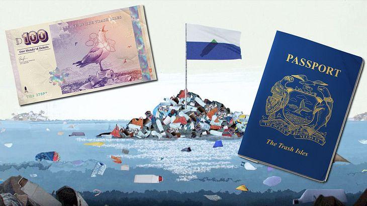 Flagge, Geld und Reisepass - alles was man braucht