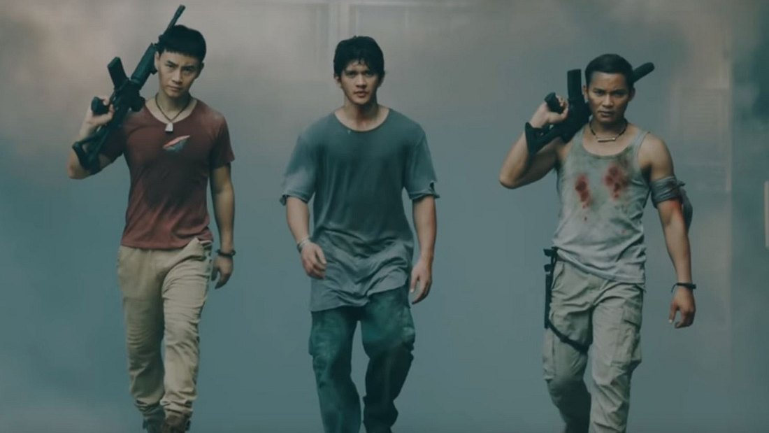 Tiger Hu Chen, Iko Uwais und Tony Jaa (v.l.n.r.) in Triple Threat