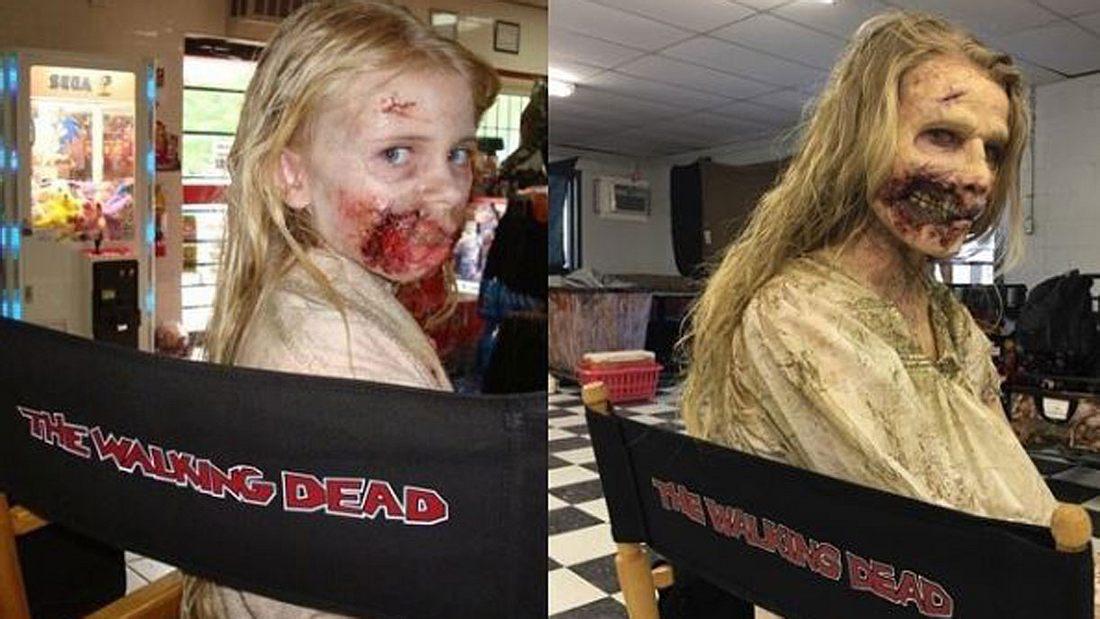 Addy Miller im Zombie-Make-up am Set von The Walking Dead