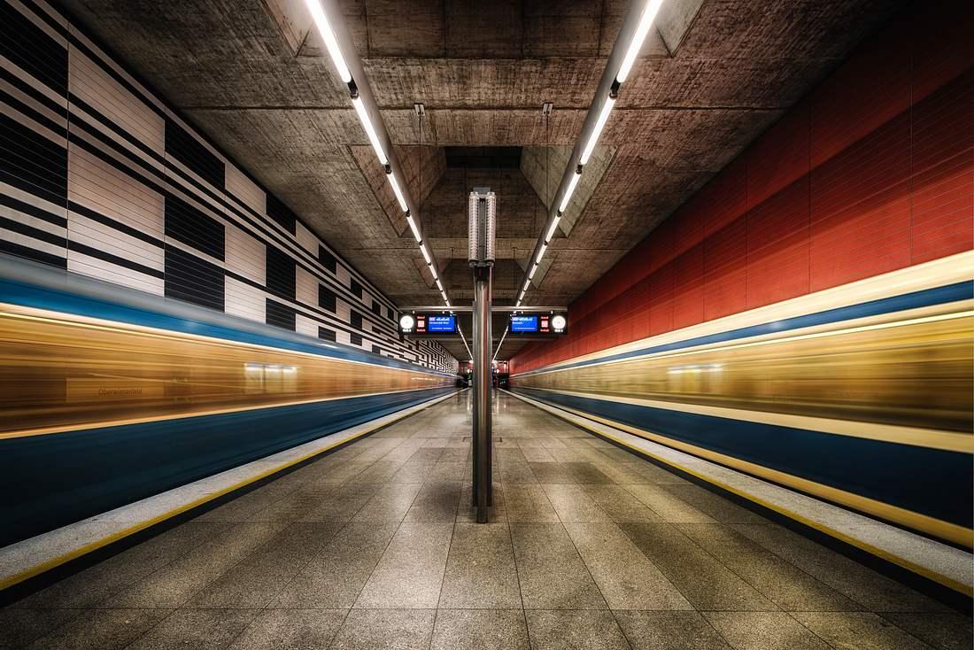 Münchners U-Bahn-Haltestelle
