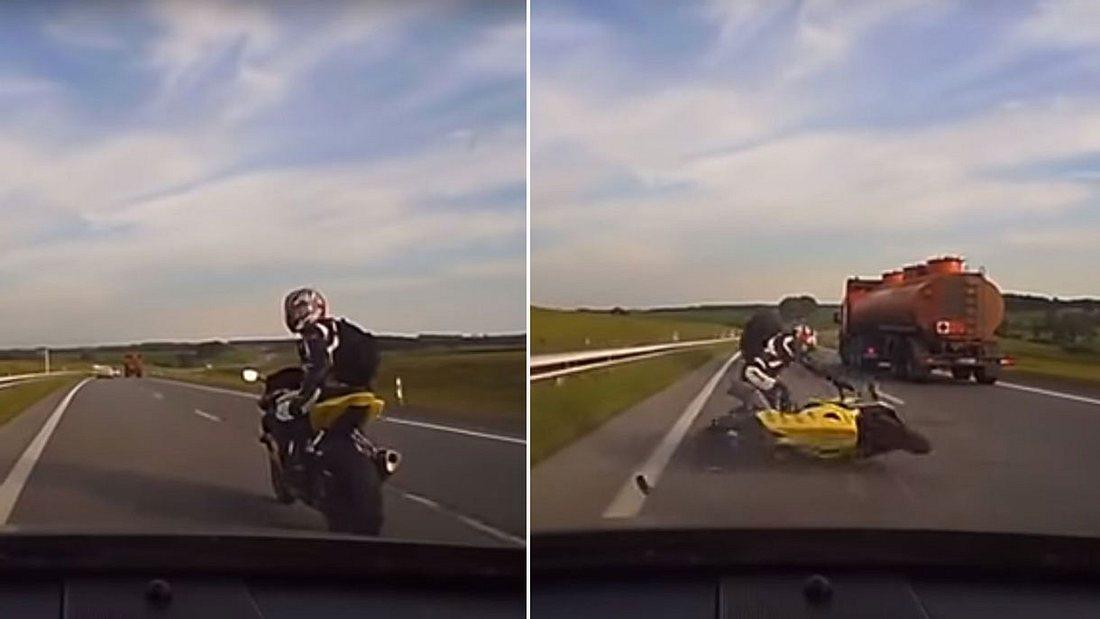 Auto- und Motorradfahrer kollidieren brutal