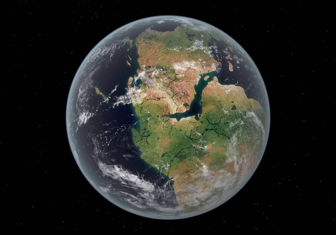 Planet Erde mit Urkontinent Pangea,  aus dem Weltall gesehen