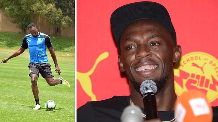 Usain Bolt spielt Fußball