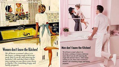Künstlerin verdreht Gender-Rollen in sexistischer Vintage-Werbung