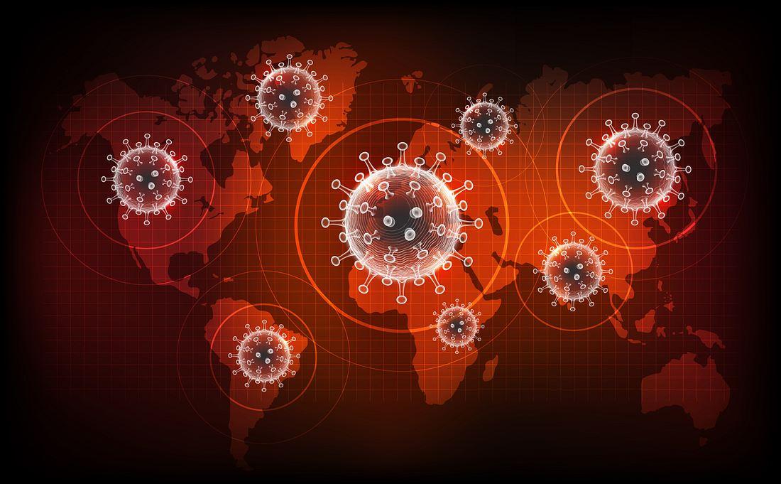 Weltkarte mit Viren