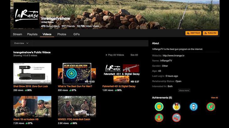 Der Waffen-Kanal InRage auf der Webseite Pornhub