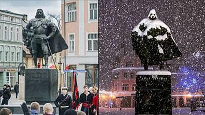 Die Statue von Jakob von Weiher in Wejherowo hat sich über Nacht in Darth Vader verwandelt - Foto: instagram.com/wejherowo