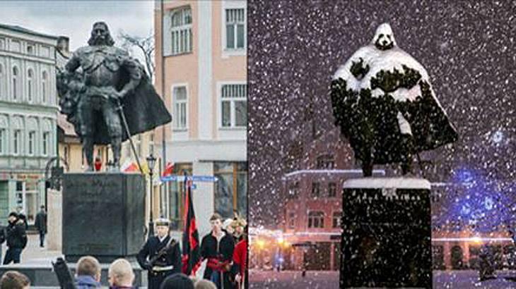Die Statue von Jakob von Weiher in Wejherowo hat sich über Nacht in Darth Vader verwandelt