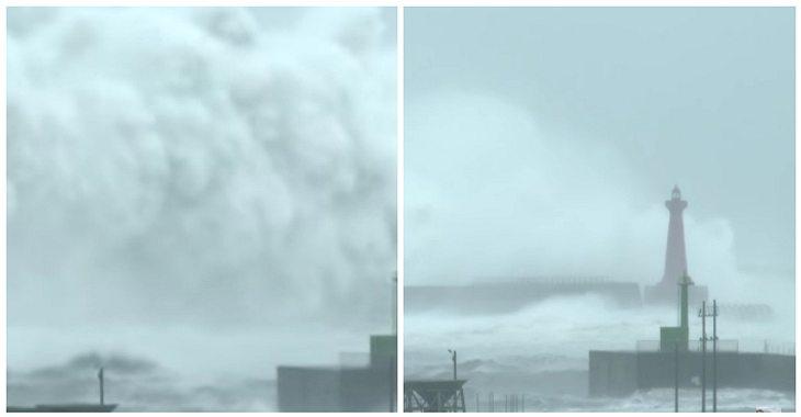 Zerstörerischen Wasserwand: Ein Typhoon löste an der Küste Taiwans Riesenwellen aus