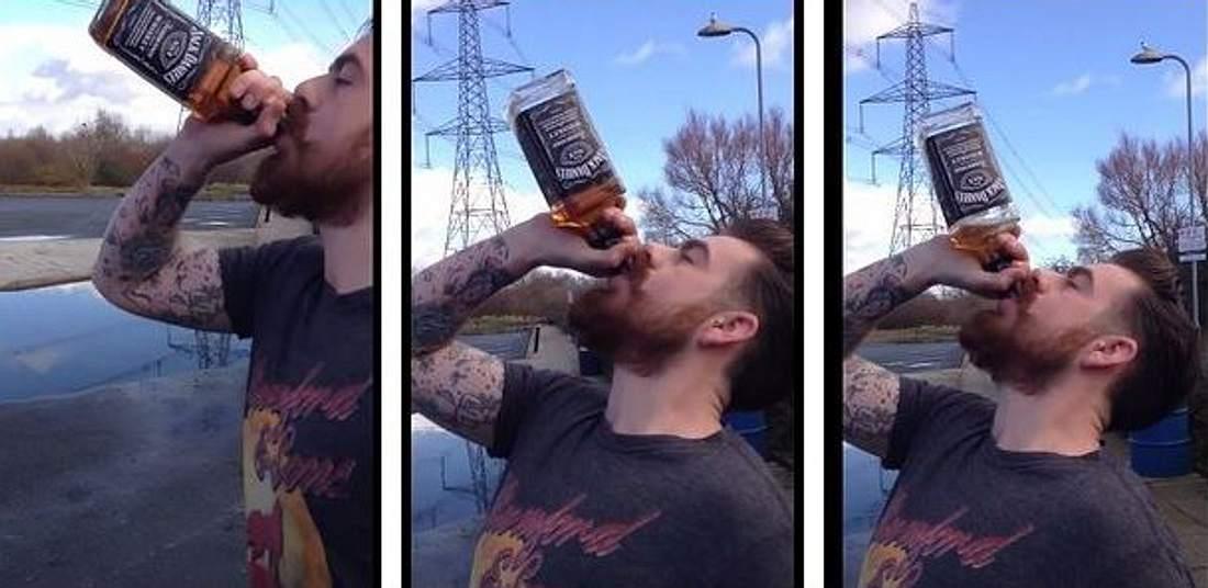 Will Williams trinkt eine Flasche Jack Daniels aus ex