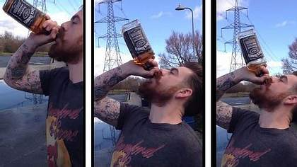 40%-Vollidiot: Mann ext Whisky-Flasche in 15 Sekunden