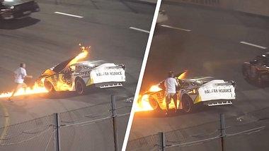 Vater zieht Sohn aus dem brennenden Rennwagen