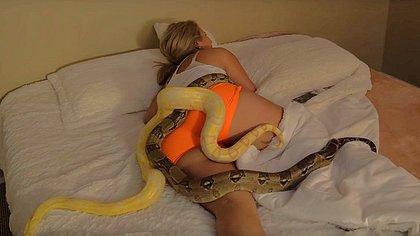 Video: Mann weckt schlafende Freundin mit Schlangen