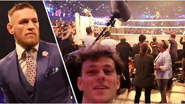 Zac Alsop mogelt sich in den Backstage-Bereich der Promo-Tour von Conor McGregor und Floyd Mayweather - Foto: Zac Alsop