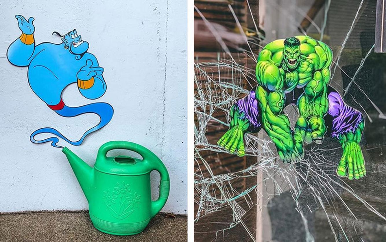Flaschengeist und Hulk als Sticker auf Wänden und Glasscheiben